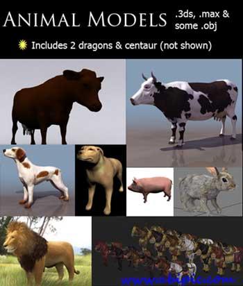 دانلود طرح 3 بعدی جیوانات مختلف 3d animal models for 3ds Max