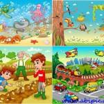 دانلود وکتورهای با طرح کودکانه سری 2 Children's Animated Vector Set