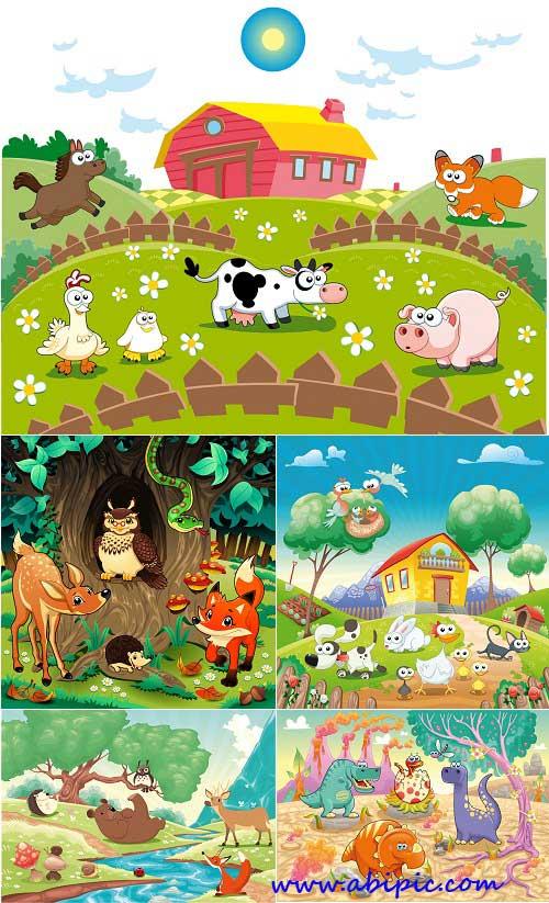 دانلود وکتورهای با طرح کودکانه سری ۱ Children's Animated Vector Set