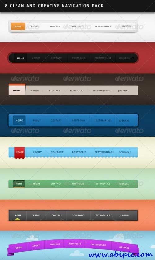 دانلود ۸ طرح لایه باز زیبا برای منو سایت Clean and Creative Navigation
