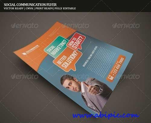 دنلود طرح وکتور آماده پوستر Communicate Corporate Flyer