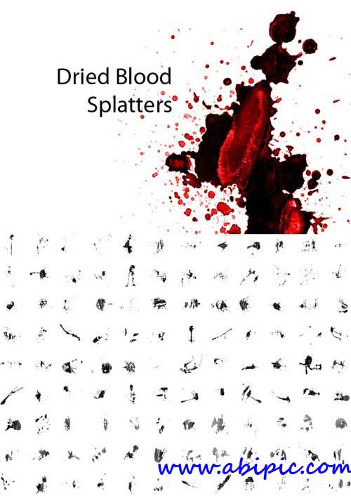 دانلود براش لکه خون خشک شده Dried Blood Splatters Photoshop Brushes
