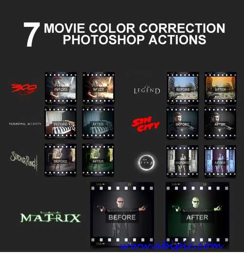 دانلود اکشن فتوشاپ تصحیح رنگ به سبک فیلم Movie Color Correction Actions
