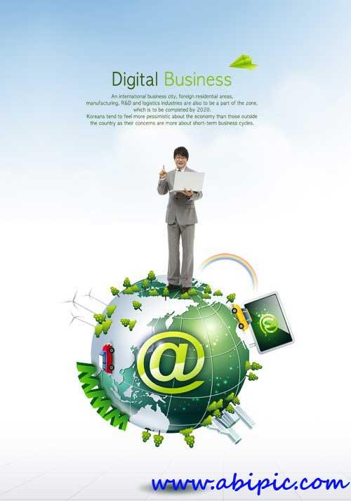 دانلود طرح لایه باز دنیای تجارت PSD Source - Business World