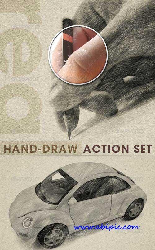 ابزار تبدیل عکس به طراحی های مداد Realistic Hand Draw Generator Action Set