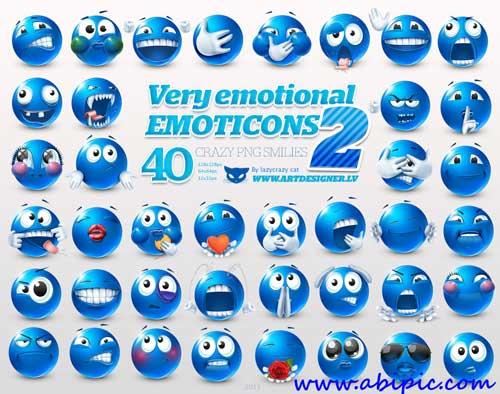 دانلود آیکون اسمایل های بامزه Very Emotional Smilies Icons Pack