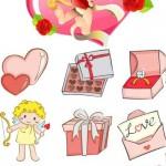 دانلود طرح وکتور آیکون های ولنتاین و عاشاقانه Stock: Valentine cupid and icons