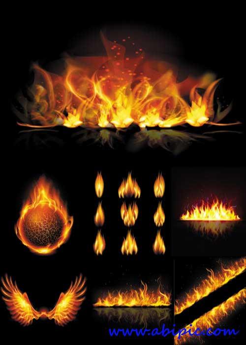 دانلود وکتور آتش و شعله شماره 2 Creative flame vector graphics