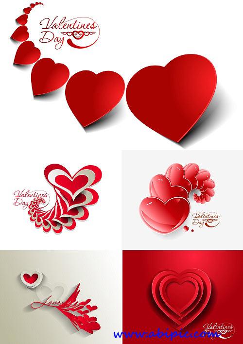 دانلود وکتور بک گراند با طرح قلب برای ولنتاین Stock Valentine day red heart