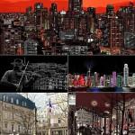 دانلود وکتور تصاویر پانوراما از محیط شهر Panoramas of the city in a vector