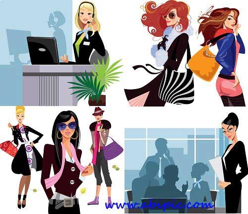 دانلود وکتور خانم های شیک و زیبا Stylish People Collection Vector Stock