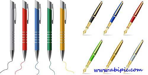 دانلود وکتور انواع مختلف خودکار و قلم Vectors - Different pens Mix