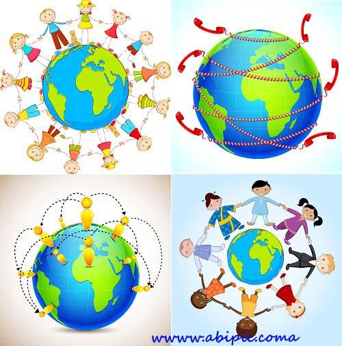 دانلود وکتور مردم و زمین Earth & people Vectors