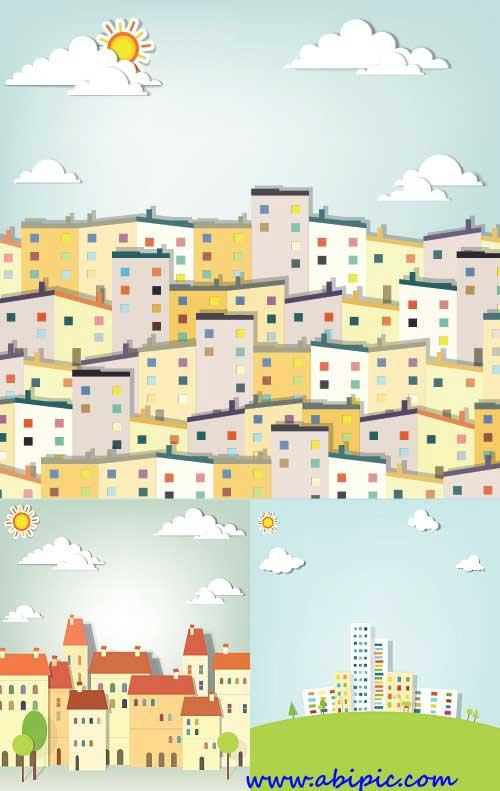 دانلود تصاویر وکتور ساختمان های شهر City building vector
