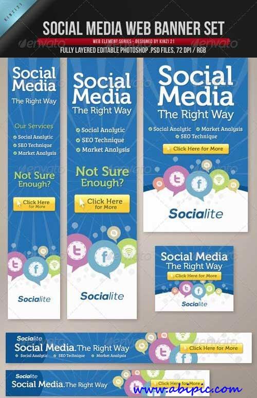 دانلود طرح لایه باز بنرهای تبلیغات اینترنتی با طرح شبکه های اجتماعی