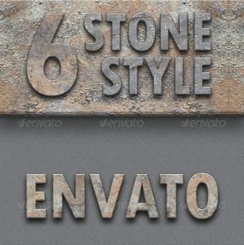 دانلود استایل فتوشاپ با افکت سنگ و صخره GraphicRiver Stone Style