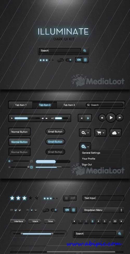 دانلود طرح لایه باز ابزارهای طراحی سایت MediaLoot - Illuminate Dark UI Kit