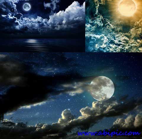 دانلود عکس استوک آسمان شب ابری و ماه Moon Cloudy Night Stock Photos