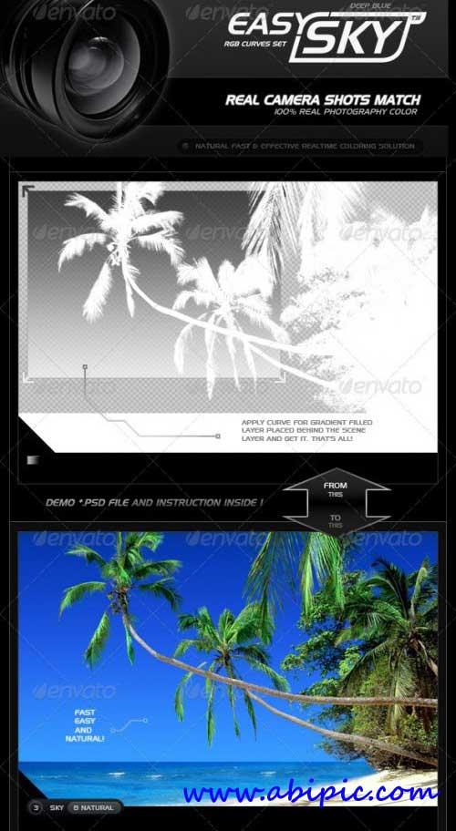 دانلود مجموعه ساخت آسمان واقعی در فتوشاپ RGB Curves Professional Easy Sky