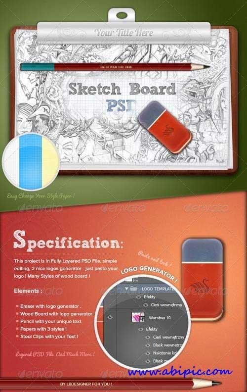 دانلود طرح mock-up چاپ طرح بر روی تخته رسم Sketch Board Mock-Up