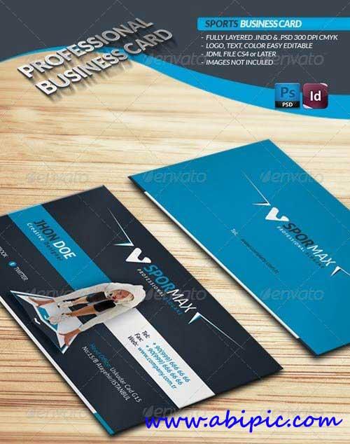 دانلود طرح لایه باز کارت ویزیت ورزشی Sports Business Card PSD