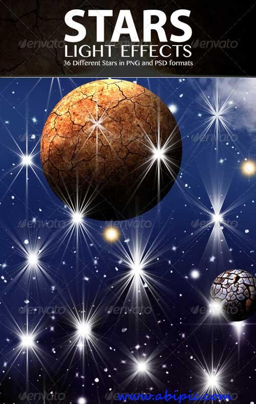 دانلود طرح لایه باز افکت های نور ستاره ای Stars Light Effects