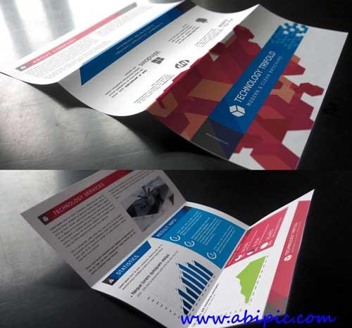 دانلود وکتور بروشور 3 لت تکنولوژی Technology Tri Fold Brochure