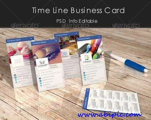 دانلود کارت ویزیت با طرح خط زمان فیس بوک Time Line Business Card