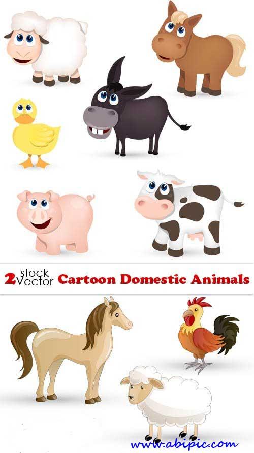 دانلود طرح وکتور حیوانات اهلی Vectors - Cartoon Domestic Animals