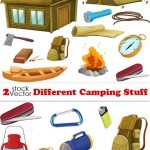دانلود وکتور ابزار و وسایل کمپین و کوهنوردی Vectors – Different Camping Stuff