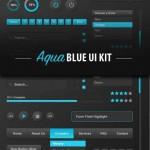دانلود مجموعه کیت و ابزارهای آبی رنگ طراحی سایت Aqua Blue UI Kit