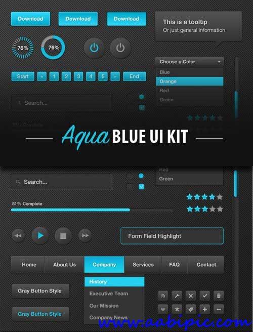 دانلود مجموعه کیت و ابزارهای طراحی سایت آبی Aqua Blue UI Kit