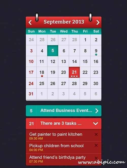 دانلود طرح لایه باز تقویم سیستم iOS Calender Interface Design