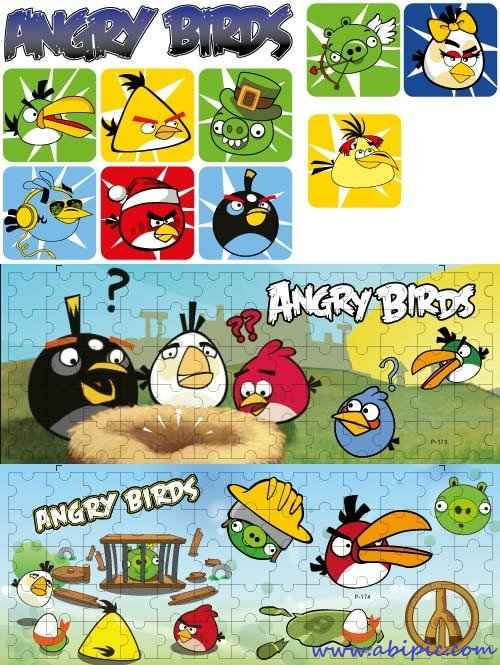 طرح وکتور کلیپ آرت پرندگان خشمگین Vector Clip Art Angry Birds