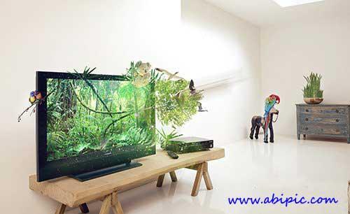 دانلو فایل سورس فتوشاپ تلوزیون های 3 بعدی 3D TV - PSD Source