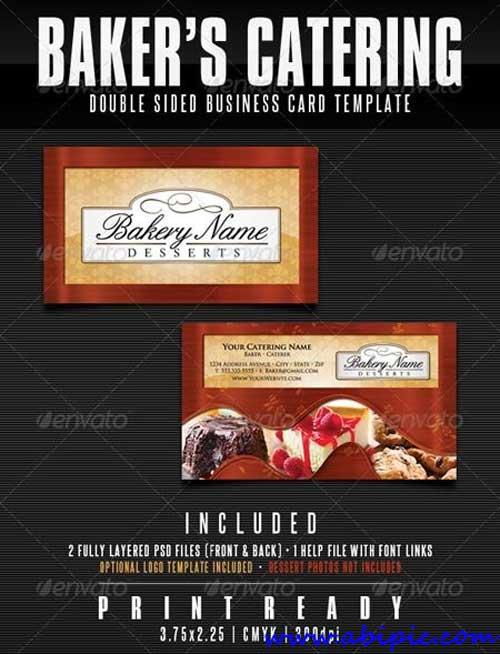 دانلود کارت ویزیت شیرینی پزی و فروشی شماره 2 Bakers Catering Business Card