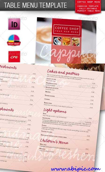دانلود طرح ایندیزاین منو کافی شاپ و رستوران Cafe Coffee Shop Restaurant Menu