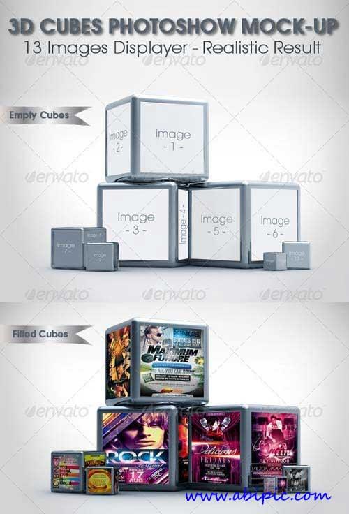 دانلود طرح موک آپ نمایش در مکعب های 3 بعدی 3D Cubes Photoshow Mock-up