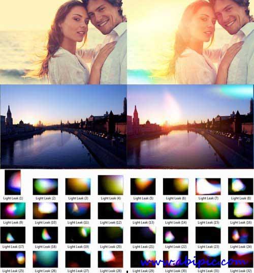 دانلود افکت عکس نورهای رنگارنگ Light Leaks Photo Effects