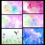 دانلود بک گراند لایه باز با الگوی گل و پروانه PSD Background Flower & Butterflies