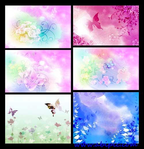 دانلود بک گراند لایه باز با الگوی گل و پروانه PSD Background Flower and Butterflies