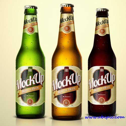 دانلود طرح موک آپ بطری شیشه ای نوشیدنی Bottle Psd Mockup