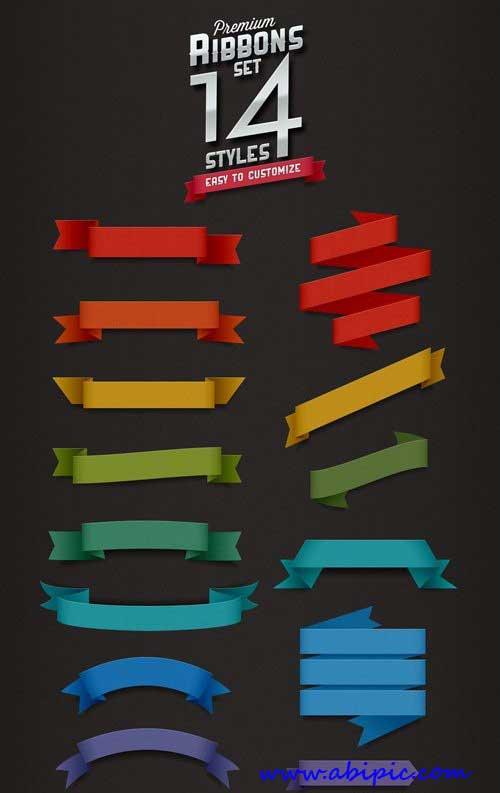دانلود 14 طرح لایه باز روبان شماره 5 Premium Ribbons PSD Set
