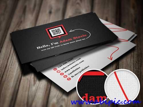 دانلود کارت ویزیت لایه با با طرح بار کد QR Code Business Cards Template