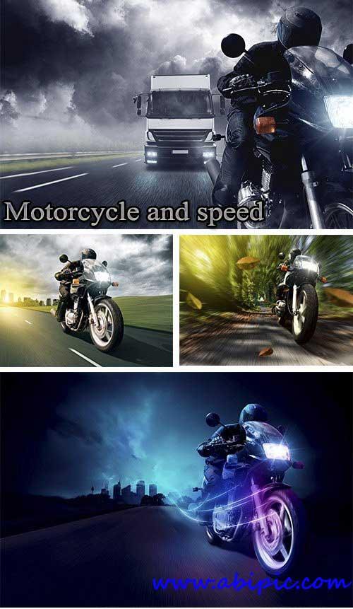 دانلود عکس شاتر استوک موتورسیکلت و سرعت Stock Photo Motorcycle and speed
