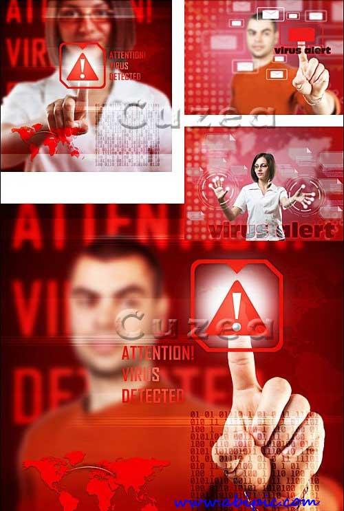 دانلود تصاویر استوک با مفهوم تشخصی ویروس اخطار Virus alert concept Stock photo