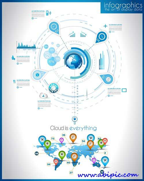 دانلود وکتور عناصر طراحی اینفوگرافیک Infographic design element in vector