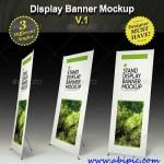 دانلود طرح لایه باز موک آپ بنر محیطی 3 Graphicriver Stand Display Mockup Roll-up