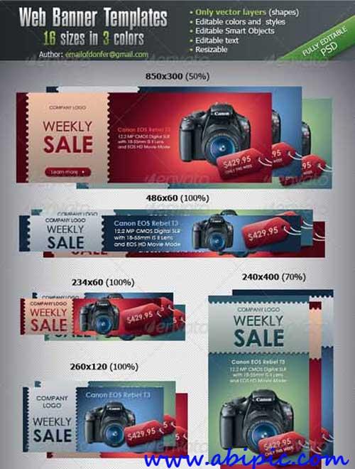 بنر های تبلیغاتی اینترنتی لایه باز در 16 سایز مختلف Web Banner Templates