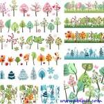 دانلود طرح وکتور درخت در فصل های مختلف سال سری ۲ Season trees Vector